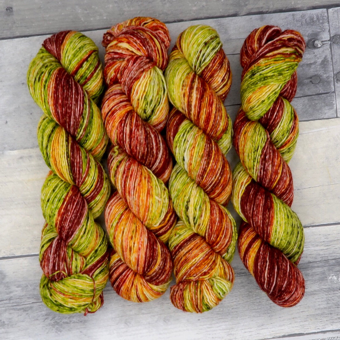 Leaf Peepers - (speckled single 100g gradient) - an autumnal rainbow green, yellow, orange, red and brown