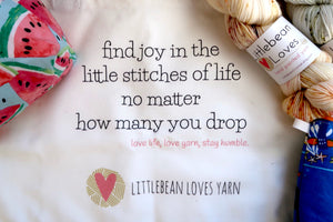 Yarn Love Tote - find joy in the stitches of life, 100% canvas cotton, black and white