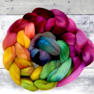 Superfine Merino, 18.5 Micron, hand painted Combed Wool Top, 4oz