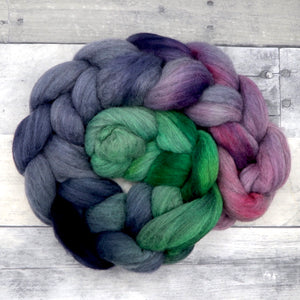 Grey Merino, 23 Micron Hand Dyed Combed Wool Top, 4oz
