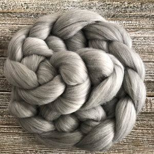 Grey Merino, 23 Micron Combed Wool Top, 4oz