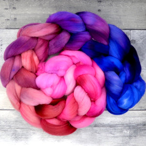 Rambouillet, 23 Micron Hand Dyed Combed Wool Top, 4oz
