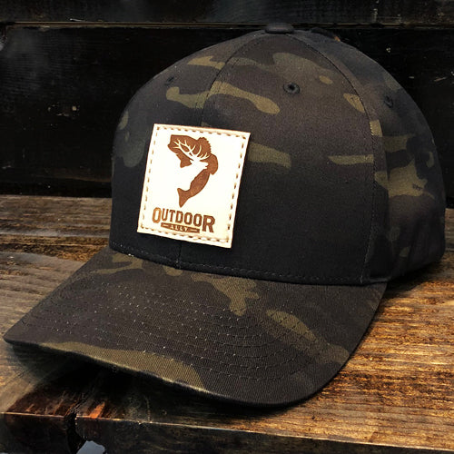 Black Camo Leather Flexfit Hat