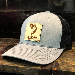 Denim & Black Leather Center Patch Hat