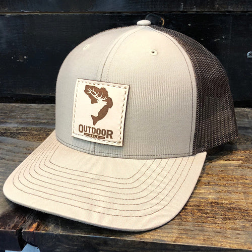 Khaki & Coffee Leather Center Patch Hat