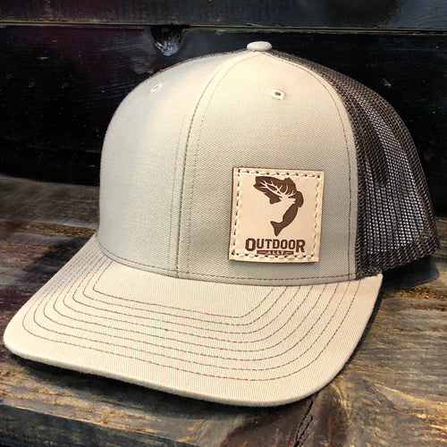 Khaki and Coffee Leather Side Patch Hat
