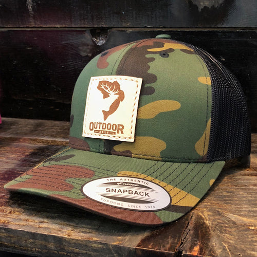 Green Camo & Black Leather Center Patch Hat