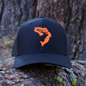 Black & Orange Embroidered Hat