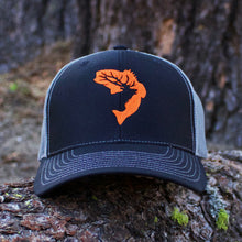 Black, Grey, & Orange Embroidered Hat