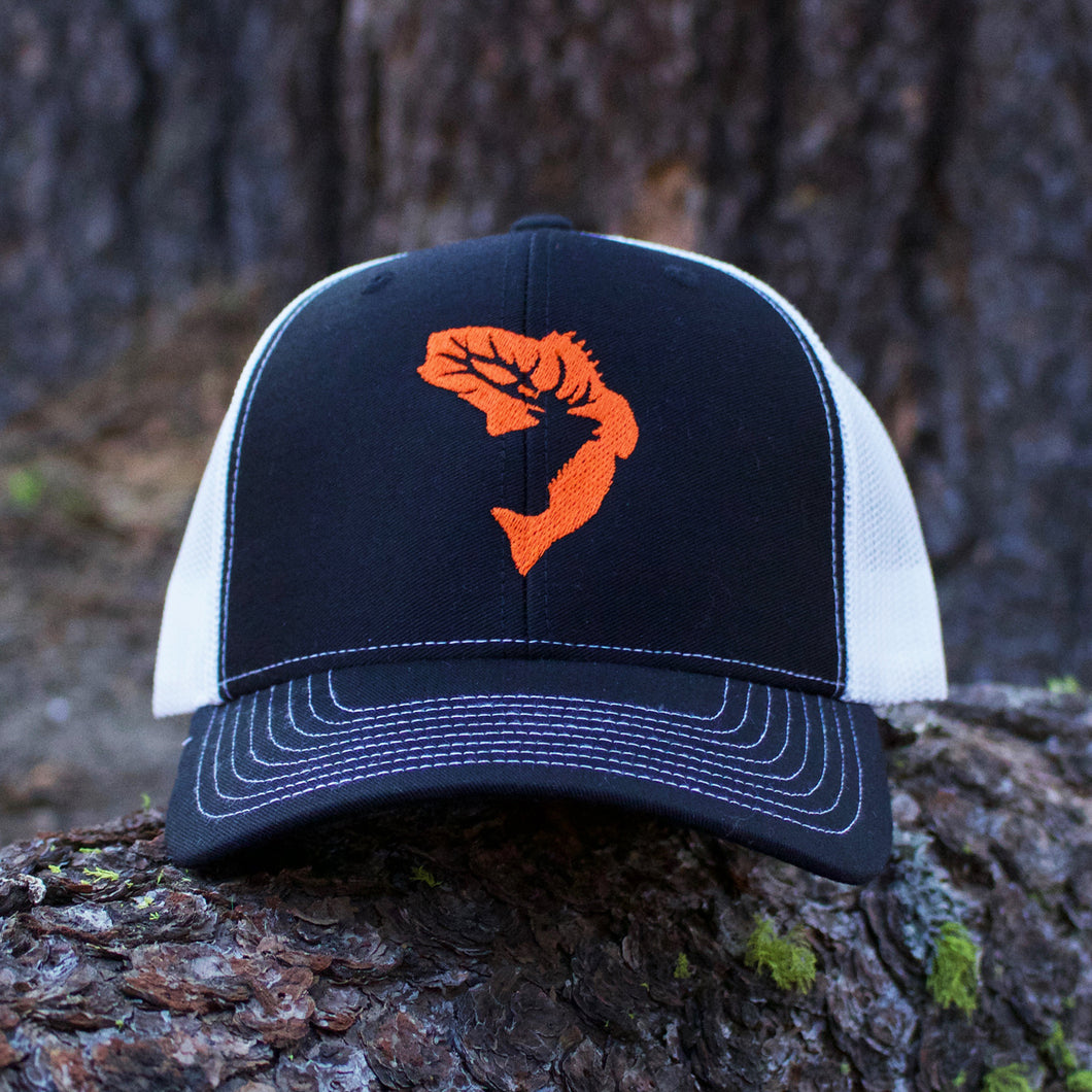 Black with Orange Logo and White Snapback Hat