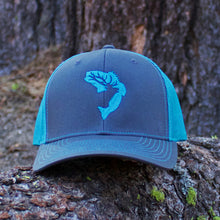 Grey & Neon Blue Embroidered Hat