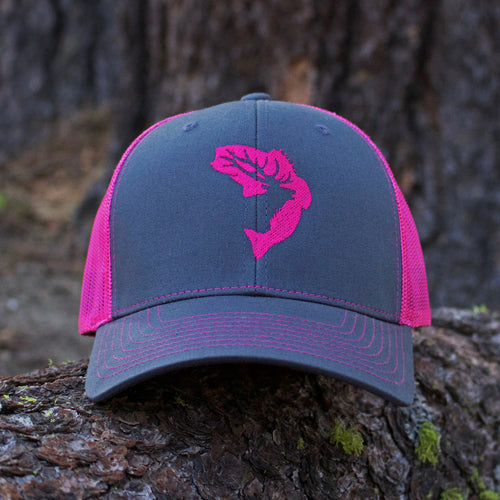Grey & Pink Embroidered Hat