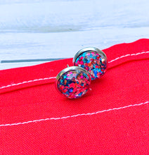 Load image into Gallery viewer, Red & Blue Glitter Studs