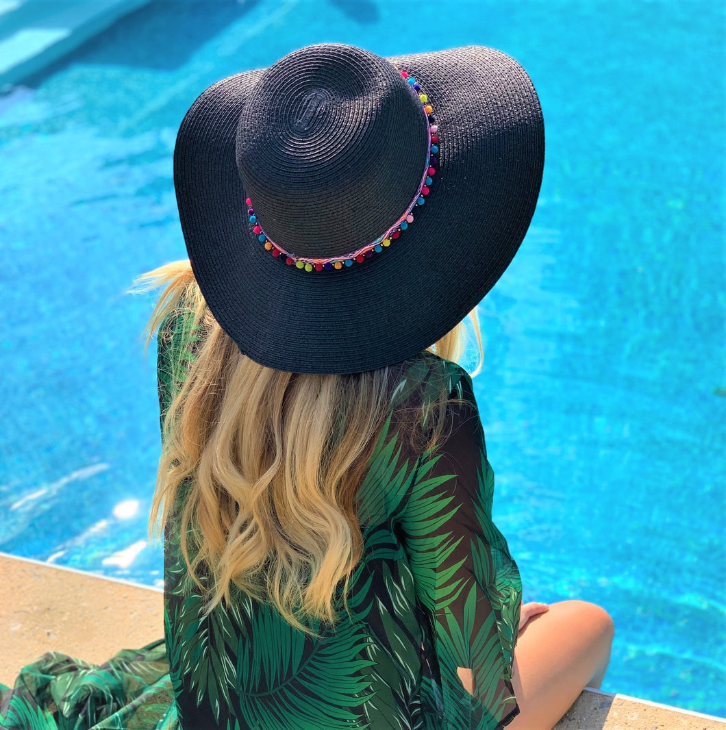 Straw Hat with Multi-Colored Poms