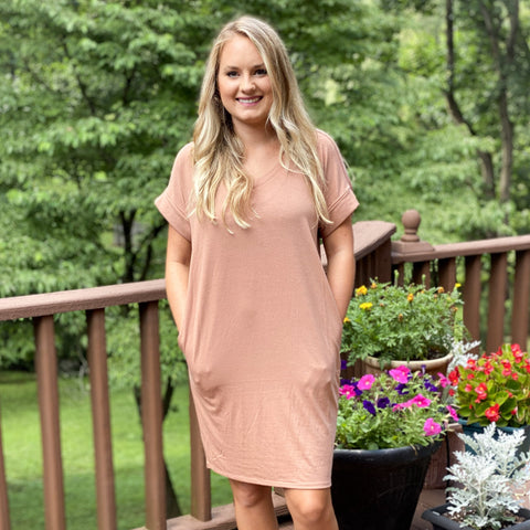 Rolled Short Sleeve V-neck Dress