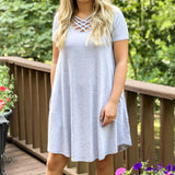 Short Sleeve Lattice Dress