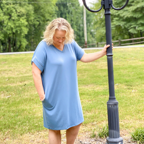 Plus Sized Rolled Short Sleeve V-neck Dress