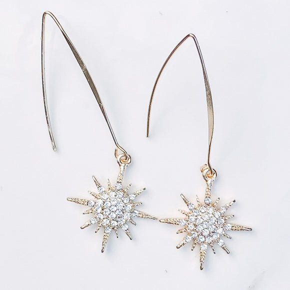 Brad's Deals - Starburst Crystal Drop Earrings