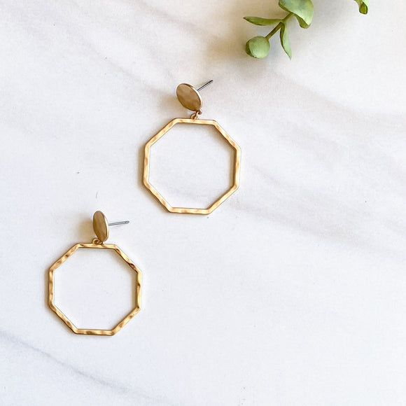 Brad's Deals - Gold Hammered Octagon Earrings