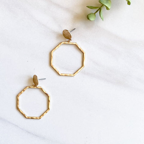 Gold Hammered Octagon Earrings