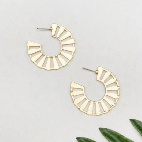 Gold Sun Hoop Earrings
