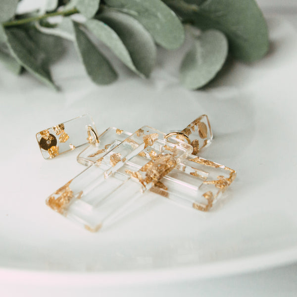 Acrylic Gold Fleck Earrings
