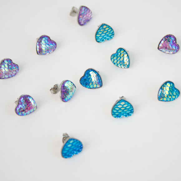 Iridescent Mermaid Scale Earrings