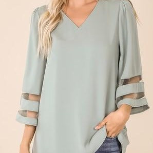 Mesh Panel Bell Sleeve Top