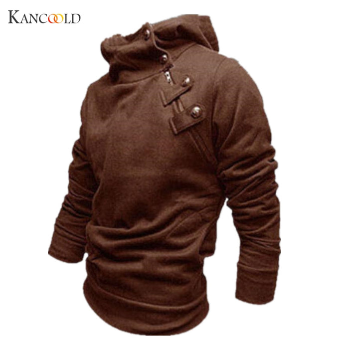 Men's Hoodie, Button Up, High Neck, Pullover Sweatshirt
