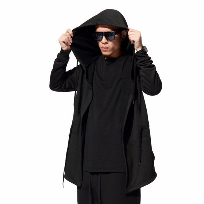 Men's Black Cloak, Hooded Drawstring Sweatshirt, Black Hoodie, Jacket, Long Sleeve Coat, Outwear