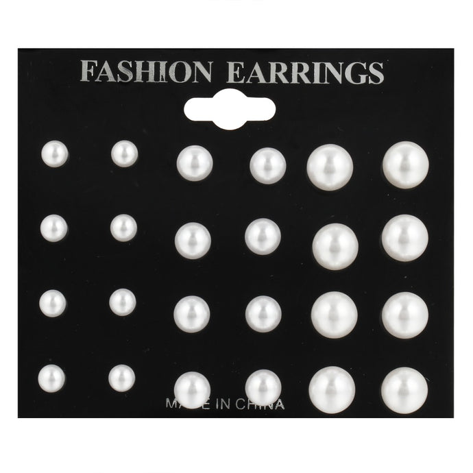 12 pairs/ set Simulated Pearl Earrings For Women, Jewelry, Fashion Stud Earrings