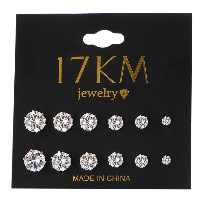 6 Pair/set Crystal Stud Earrings Set For Women, Round Flower Fashion Design Jewelry