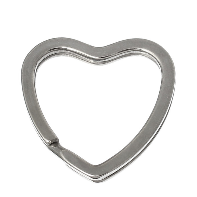 10PCs Silver Tone Valentine Heart Split Rings Key Rings
