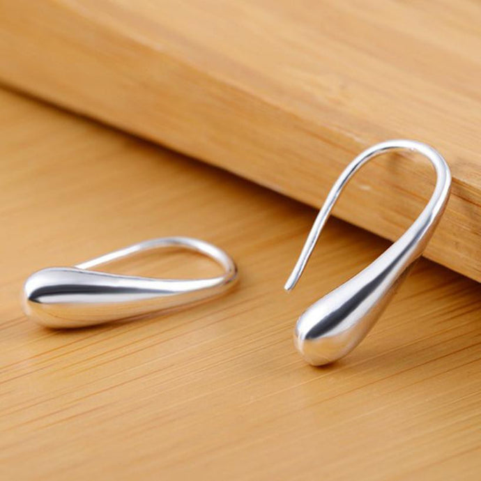Teardrop Hook Stainless Steel Silver Plated Hoop Earrings