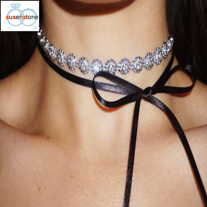 Women's Full Crystal Rhinestone Choker Necklace Jewelry