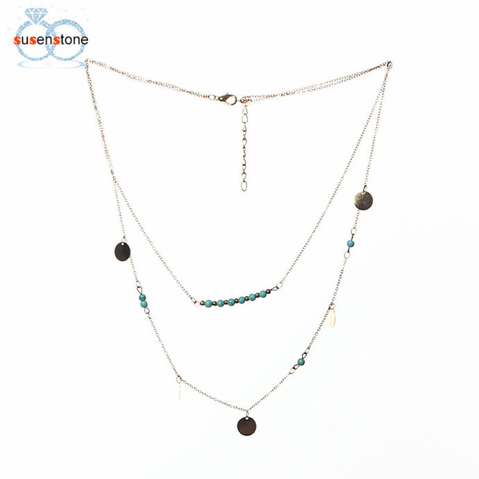 Women Gold Double Sequin Pendant Chain Statement Necklace