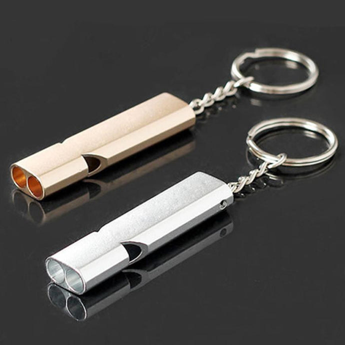 1PC 56*15*8mm 'Double Loud' Mini Aluminum Emergency Survival Whistle Outdoor Camping Hiking Multi Tool Keychain