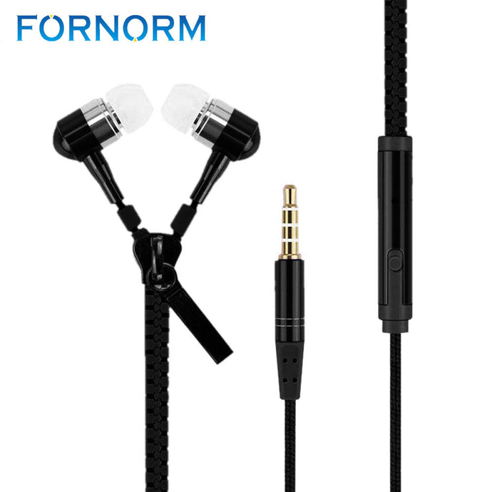 Zipper Earphone in-Ear Metal  3.5mm with Microphone Stereo Cellphone Earpieces for iPhone/Samsung Smart Phone