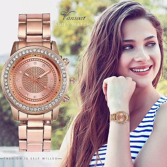 Luxury Stainless Steel Strap Quartz Watch Ladies Casual Wristwatch
