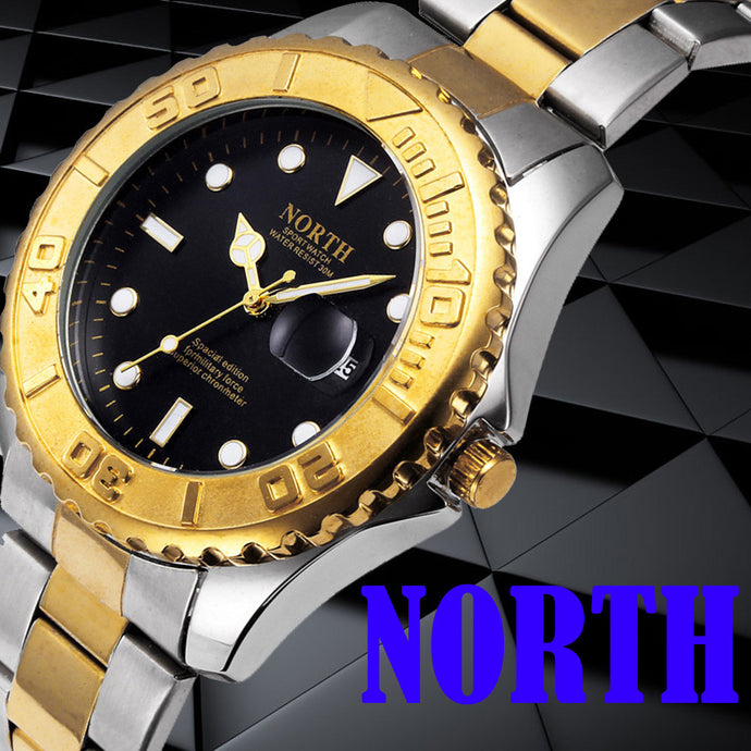 North Calendar Quartz Waterproof Wristwatch Stainless Steel Bracelet Men Watch
