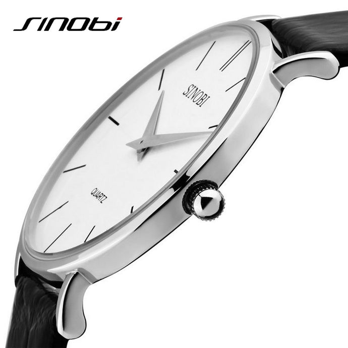 SINOBI Super slim Quartz Casual Wristwatch, Waterproof Business Leather Analog Quartz Watch