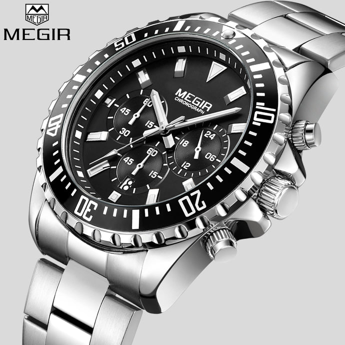 MEGIR Watch Men's Waterproof Analog Chronograph Quartz Wristwatch Full Stainless Steel Band Wristwatch Auto Date