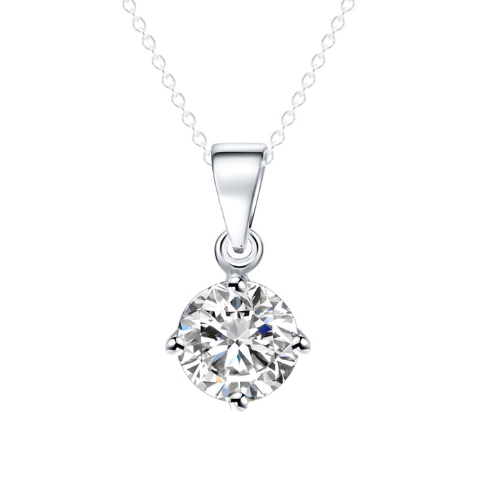 Round Shape Cubic Zirconia Pendant Necklace for Women