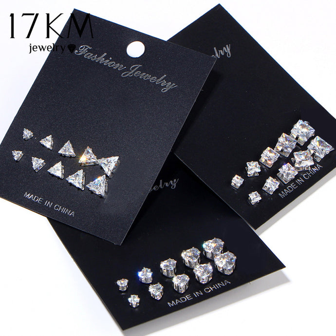 Geometric Cubic Zirconia Stud Earrings Set For Woman, Fashion Heart Square Triangle Earring Jewelry