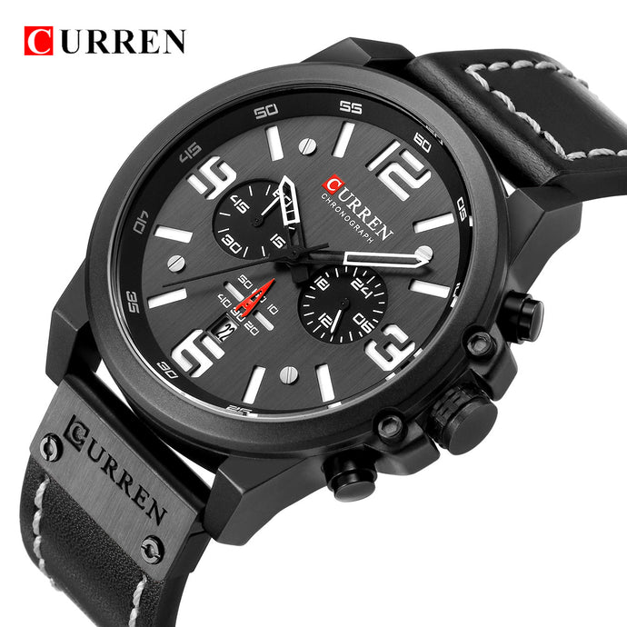 Men Military Sport Quartz Wristwatch CURREN Casual Genuine Leather Waterproof Chronograph Watch