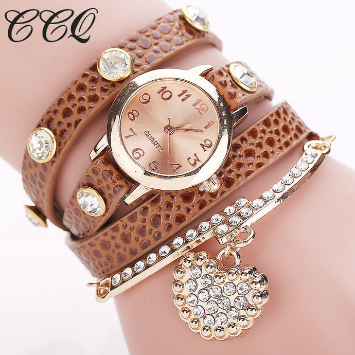 Heart Pendant Watch Casual Women Bracelet Watch