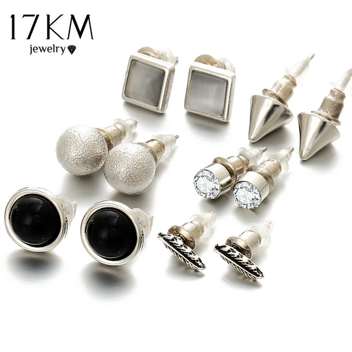 6Pcs/Set New Fashion Silver Color Ball Crystal Stud Earrings For Women, Vintage Leaf Earring Set