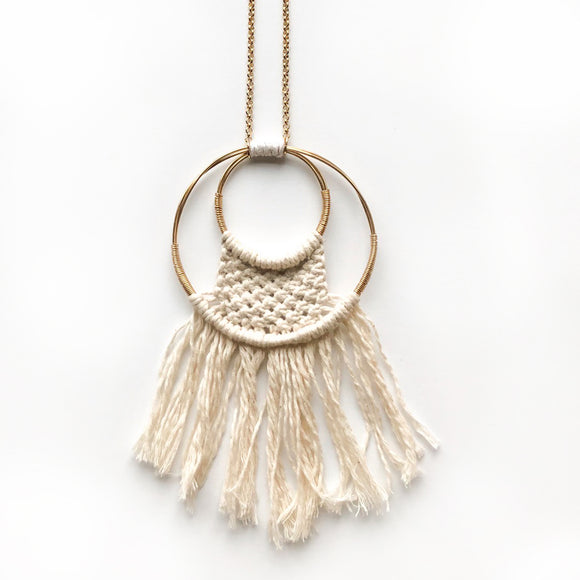 Dream Catcher Pendant Necklace in Gold and Cream