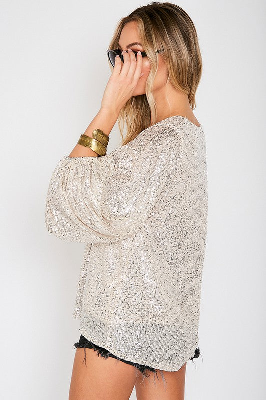 SEQUINS & BUBBLES TOP - CHAMPAGNE