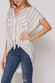 BETTER OFF TAUPE STRIPE  TOP